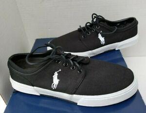 Polo Ralph Lauren FAXON Lace Up Men Sneaker Shoes Black White Pony Logo 10.5 D