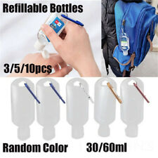 30/60ml Empty Refillable Bottles With KeyRings Travel Bottle Container Hooks