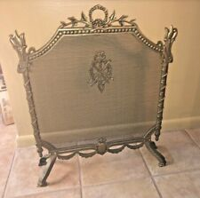 Vintage  French Rococo LOUIS XVI  Style   Ornate Brass Fireplace Screen