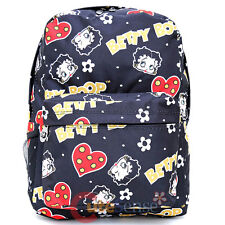 "Betty Boop School Backpack All Over Print 16"" Large Book Bag  Black Hearts"