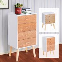 Nordic Style Scandinavian Bedside Table Drawers Cabinet Solid Wood Legs Bedroom