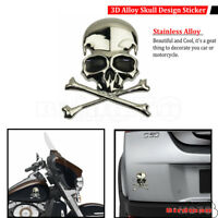 Chrome 3D Alloy Skull Cross Bone Sticker Car Trunk Motorcycle Emblem Badge Decal
