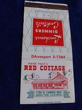 HANK PACES RED COTTAGE RESTAURANT EL REAL CAMINO MENLO PARK CA VINTAGE MATCHBOOK