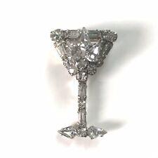 "Vintage Martini Shape Rhinestone Brooch - Rhodium Setting,Great Cond., 2"""