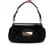 Prada Black Nylon Leather Silver Hardware Flap Shoulder Bag