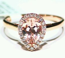 1.37CT 14K Rose Gold Natural Morganite White Cut Diamond Vintage Engagement Ring