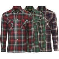 Mens Check Long Sleeve Shirt Casual Collared Cotton Classic Fit Top Size M - 3XL