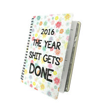 2017 2018 Daily Planner - The Year $hit Gets Done - Floral College Agenda Flower