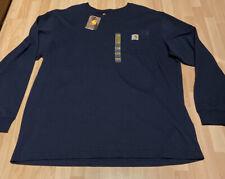 New Long Sleeve Carhartt Pocket Tee Navy Blue Size XL