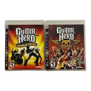 Guitar Hero World Tour & Guitar Hero Aerosmith PS3 Bundle Lot Complete CIB