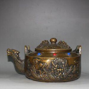 """8""""   Rare  China  antique  brass  set  gemstone  Dragon  Alcohol  pot"""