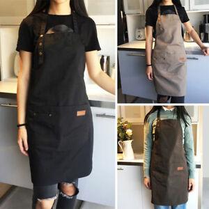 Unisexe Toile cuisinière CHEF Waiter Barista travail tablier avec grand poches