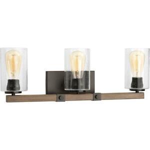 Progress L. Barnes Mill 3-Light A.Bronze Bathroom Vanity Light w/Glass Shades