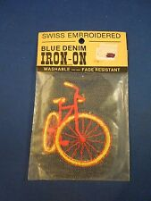 Vintage Swiss Brand Blue Denim Red with Yellow Tires Bicycle Iron On Patch