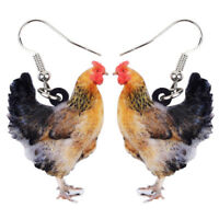 Acrylic Elegant Chicken Hen Earrings Drop Dangle Animal Jewelry For Women Charms