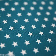 Jerseystoff 10mm STERNE Weiß auf Petrol Baumwolljersey mit Sternen Kidnerstoff