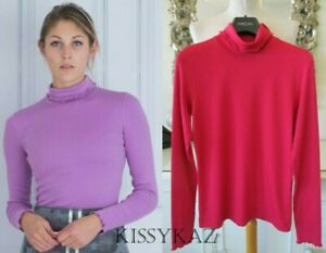 MARC CAIN Cotton Rib Double Layer Polo Neck Top in Magenta Dark Pink N3 12 NEW