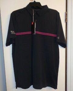 Under Armour Threadborne golf/casual polo LARGE NWT black/pink PGA West