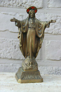 Antique french bronze sacred heart statue jesus christ statue