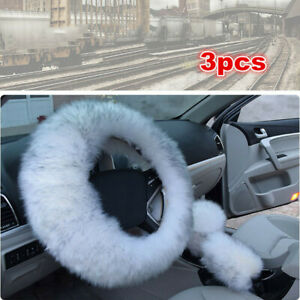 3x Long Plush Warm Winter Steering Wheel Cover Woolen Handbrake Car Accessory