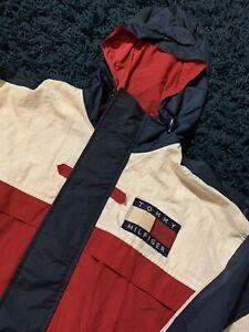 VTG 90s Tommy Hilfiger Sailing Gear Windbreaker Jacket Mens Medium