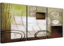 3 Pannello Marrone Verde DIPINTO CAMERA DA LETTO ARTE in Tela-ASTRATTO 3421 - 126 cm