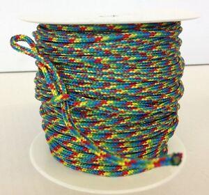 Reepschnur 2, 3 und 4 mm regenbogenfarben, PES Polyester geflochten Flechtkordel
