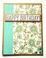 BIRTHDAY Greeting Card - FLOWER GOLD and TURQUOISE - Handmade A2 size