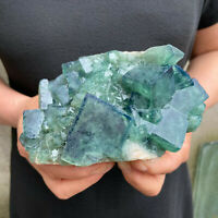 2.1LBS Natural Fluorite Cubes Quartz Crystal Cluster Mineral Specimen Healing B5