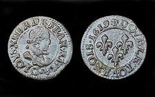 Double Tournois 1619 G (Poitiers). Petit buste enfantin. TTB+.Louis XIII°.Cuivre