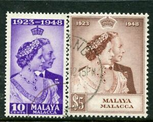 MALAYA - Malacca.... 1948 Silver Wedding set used