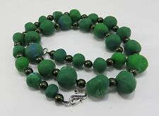 Vintage Estate Green Dough Art and Bead 24 Inch Necklace w/ New Clasp Unique