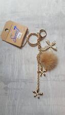 Schlüssel- /Taschenanhänger Blumen, Glitzer, Puschel, Gold *NEU* 💛