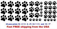"Paw Prints Cat Dog Set Of 43 black vinyl Decal sticker 1""- 2 1/2"" car, yeti, etc"