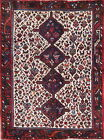 One-of-a-Kind Tribal Geometric Abadeh Oriental Hand-Knotted 4'x6' Ivory Wool Rug