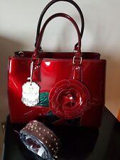 Women  Red handbag with rose Shiny Patent like Tote shoulder handbag