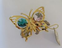 Figurine  Butterfly on branch-  Austrian Crystals  gold plated pink green