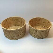 """2 Vintage Matching Japanese Handmade Bamboo Nesting Baskets 7"""" and 6.5"""" Wide"""