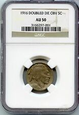1916 DDO Buffalo Nickel - Doubled Die Obverse NGC AU 50 Certified - JR741