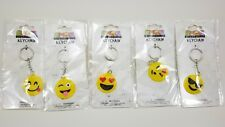 (Lot of 5) Emoji Expressions Keychains Key Chain Smiling Face Hearts, Kiss, New