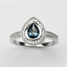 Solid 925 Sterling Silver Natural Gem Stone Blue Topaz & Cz Ring Size 8 9