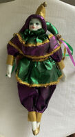 "Porcelain Harlequin Jester Clown Doll Figurine 11"" Tall"