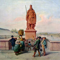 "oil painting on canvas""The monument to Emperor Charlie  at the old bridge""@12467"