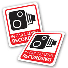 Pack 2 Camera Recording Car Stickers - CCTV Dash Cam Red Warning Video Decals