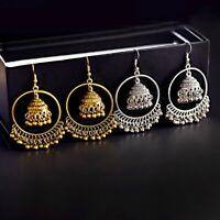 Retro Women's Gold Silver Bohemia Boho Bell Drop Dangle Jhumka Earrings Indian