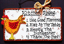 Rooster Kitchen Rules Sign Wall Hanger Plaque Country Style Chicken Decor