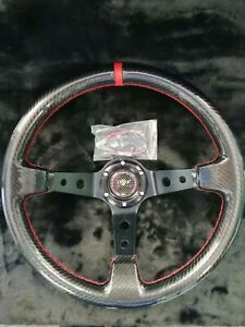 Universal ITSOK Steering Wheel 350mm ABS RED STITCH DEEP DISH FOR MO ND UKNEST