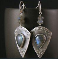 Vintage Women 925 Silver Moonstone Hook Dangle Drop Antique Jewelry Earrings