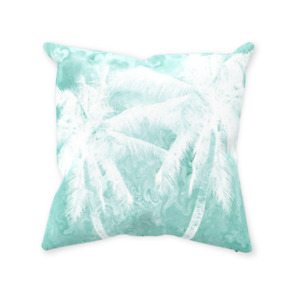 Throw Pillow Case Cushion cover Beach Turquoise White Palm Design 54 L.Dumas