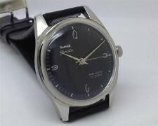 RARE VINTAGE HMT JANTA PARASHOCK 17 JEWELS BLACK DIAL MEN INDIA WRIST WATCH